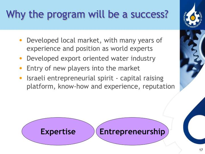 Why the program will be a success?