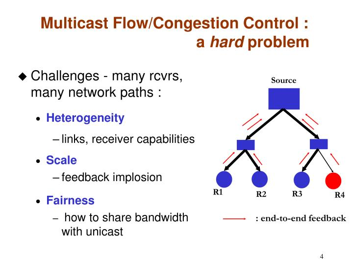 Challenges - many rcvrs, many network paths :