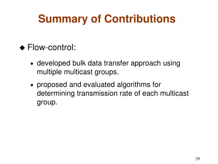 Summary of Contributions