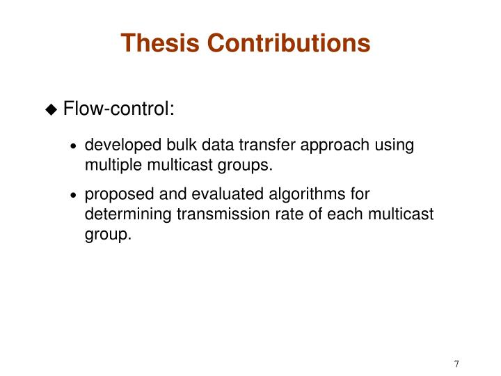 Thesis Contributions