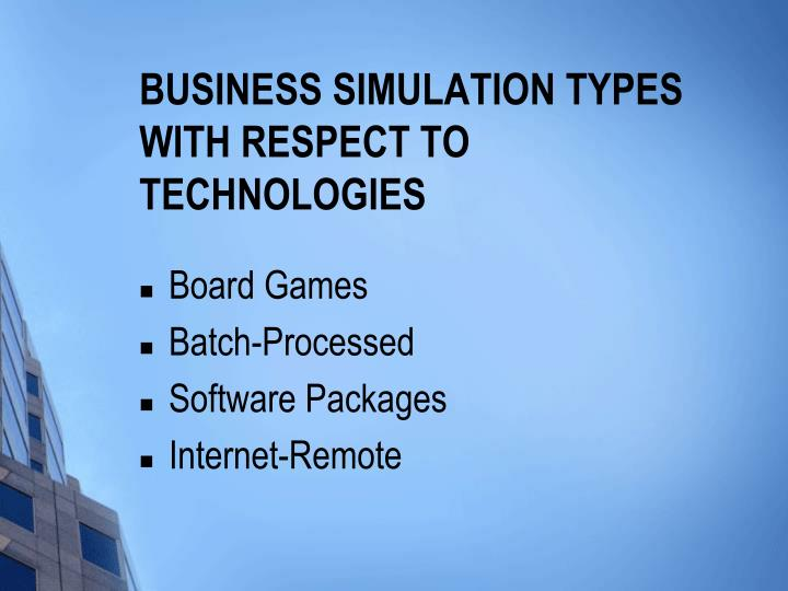 Business Simulation Types with respect to Technologies