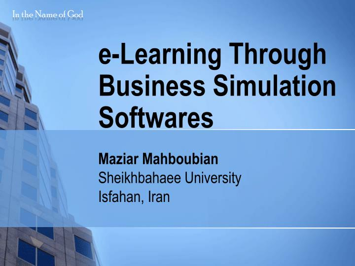 E learning through business simulation softwares