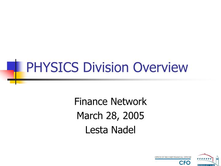 physics division overview n.