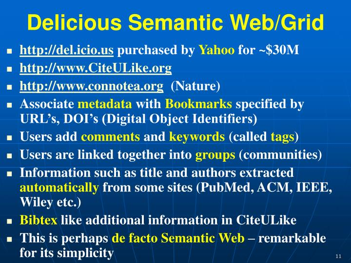 Delicious Semantic Web/Grid