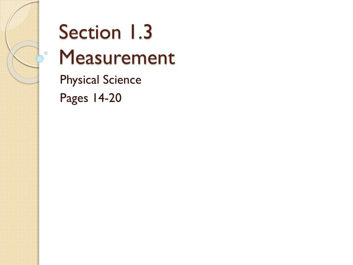 section 1 3 measurement n.
