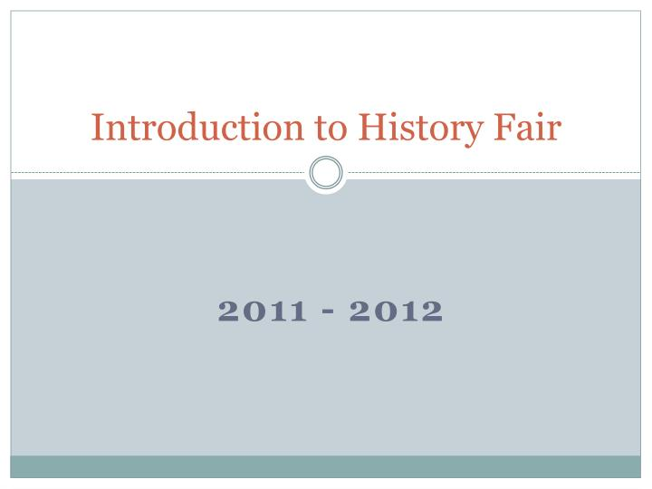 introduction to history fair n.