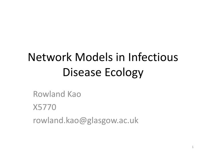 network models in infectious disease ecology n.