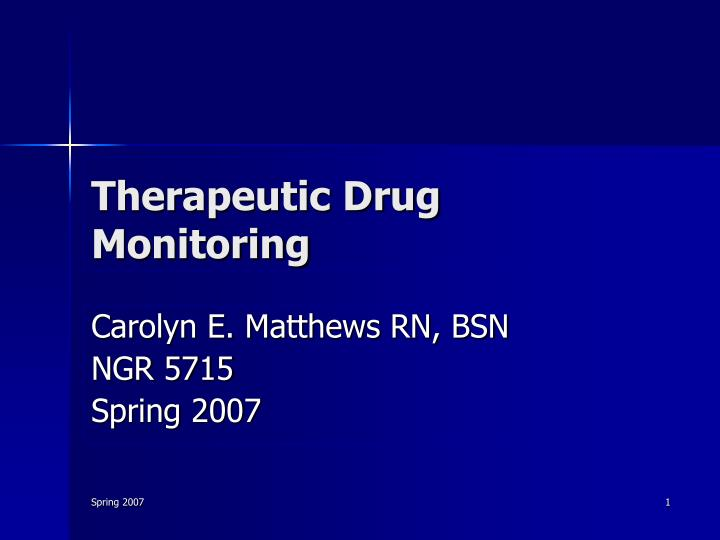 therapeutic drug monitoring n.