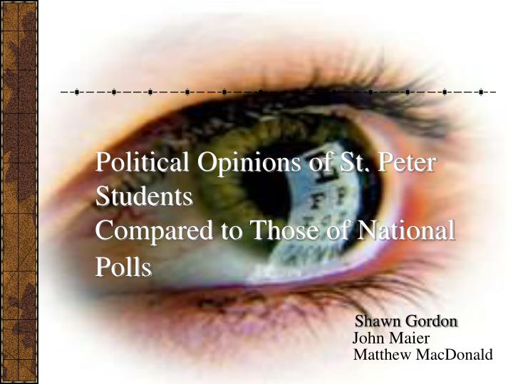 Political opinions of st peter students compared to those of national polls