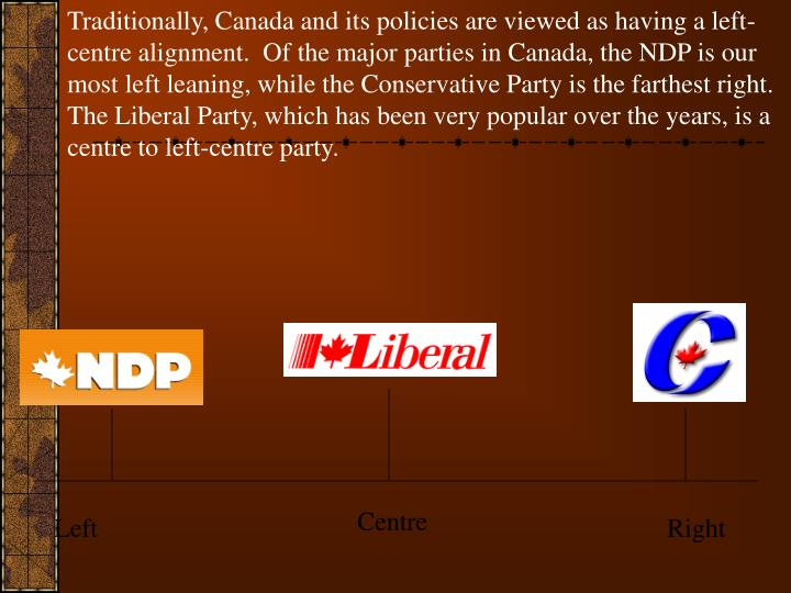 Traditionally, Canada and its policies are viewed as having a left-centre alignment.  Of the major parties in Canada, the NDP is our most left leaning, while the Conservative Party is the farthest right.  The Liberal Party, which has been very popular over the years, is a centre to left-centre party.