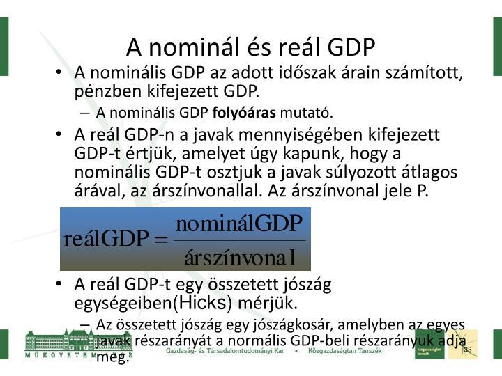 A nominális GDP az adott időszak árain számított, pénzben kifejezett GDP.