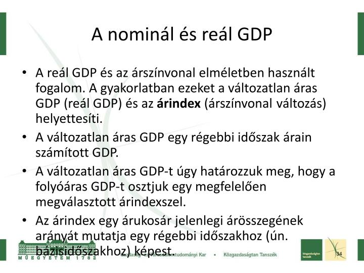 A nominál és reál GDP