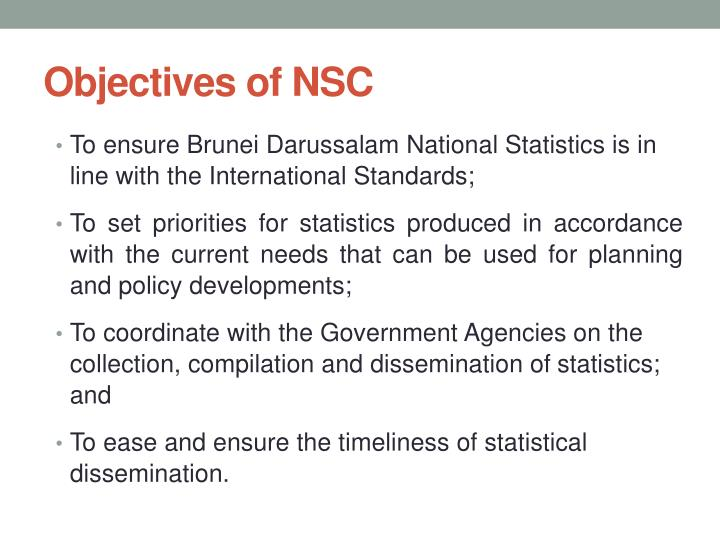 Objectives of NSC