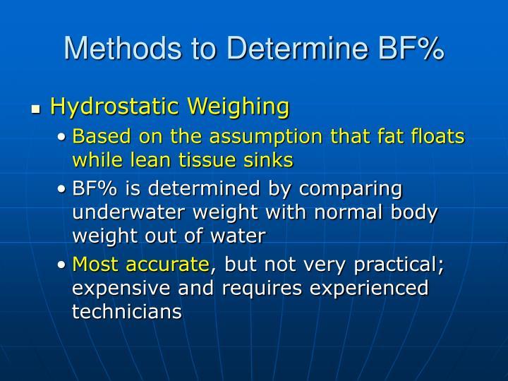Methods to Determine BF%
