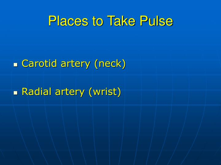 Places to Take Pulse