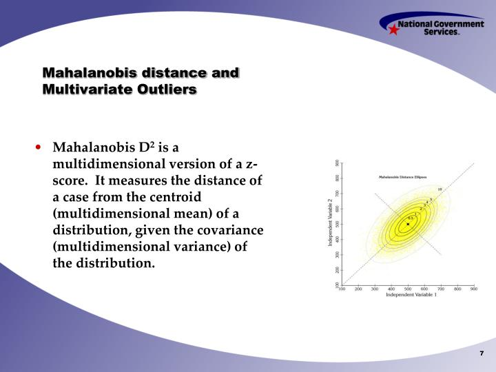 Mahalanobis distance and Multivariate Outliers