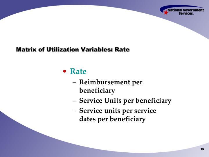 Matrix of Utilization Variables: Rate