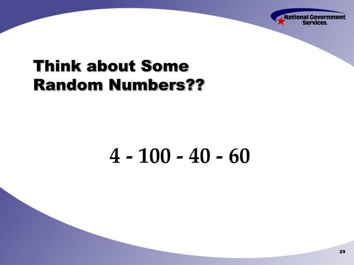 Think about Some Random Numbers??