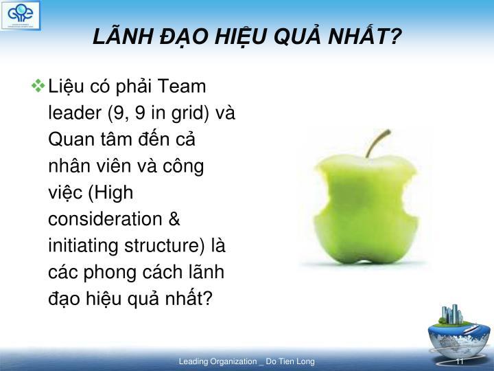 Liệu có phải Team leader (9, 9 in grid) và Quan tâm đến cả nhân viên và công việc (High consideration & initiating structure) là các phong cách lãnh đạo hiệu quả nhất?