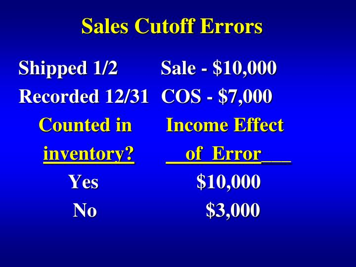 Sales Cutoff Errors