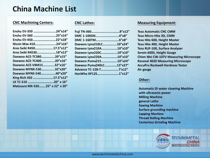 China Machine List