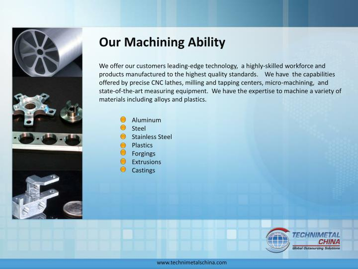 Our Machining Ability