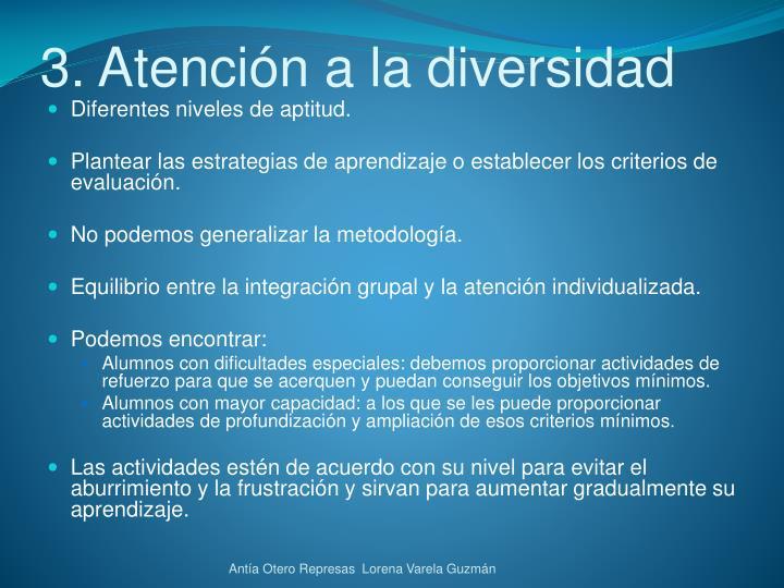 3. Atención a la diversidad