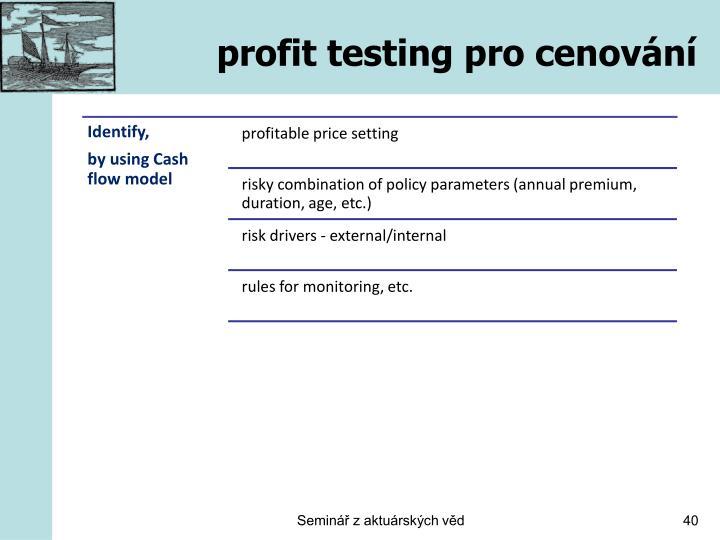 profit testing pro cenování