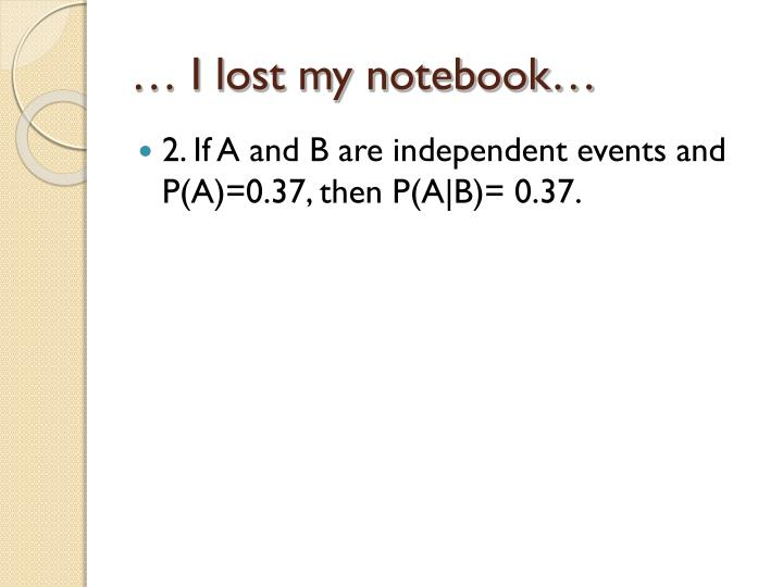 … I lost my notebook…