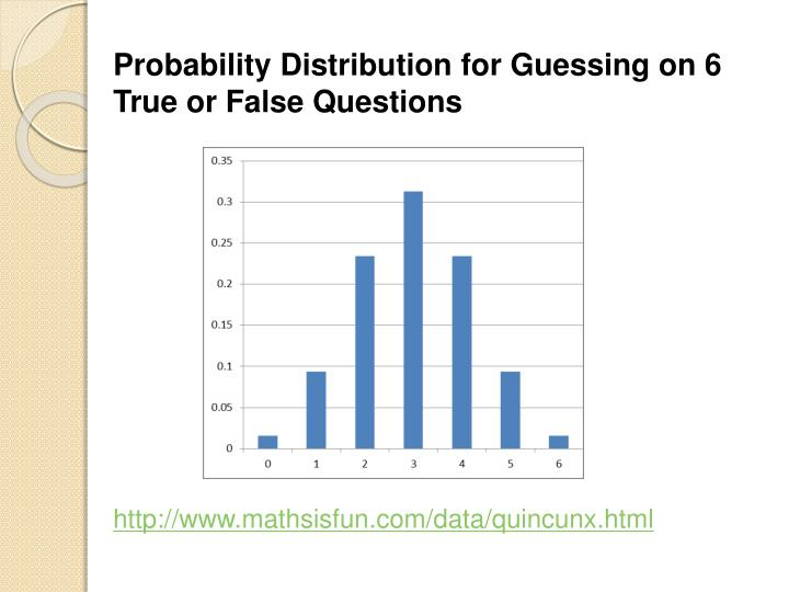 Probability Distribution for Guessing on 6 True or False Questions