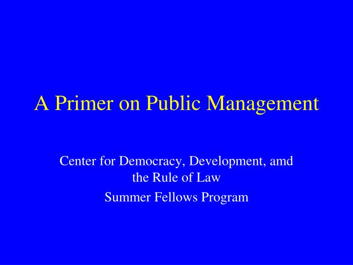 A primer on public management