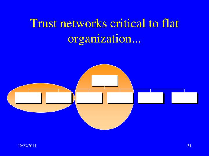 Trust networks critical to flat organization...