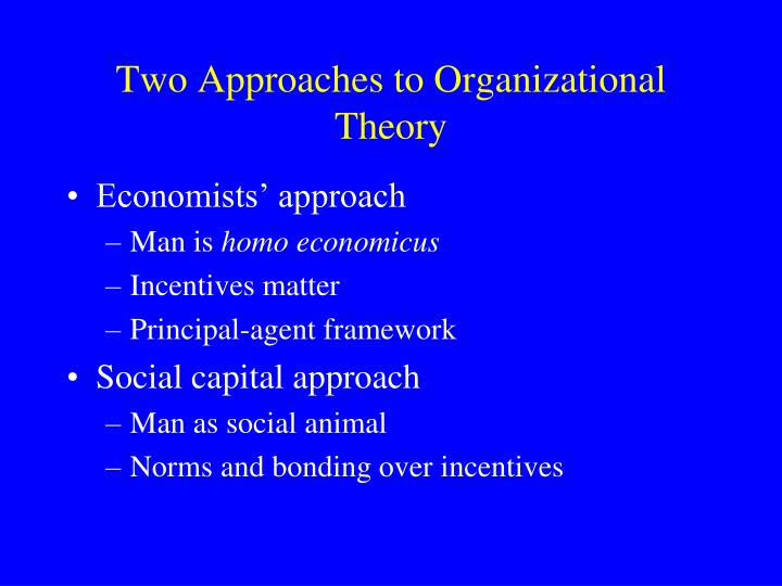 Two Approaches to Organizational Theory
