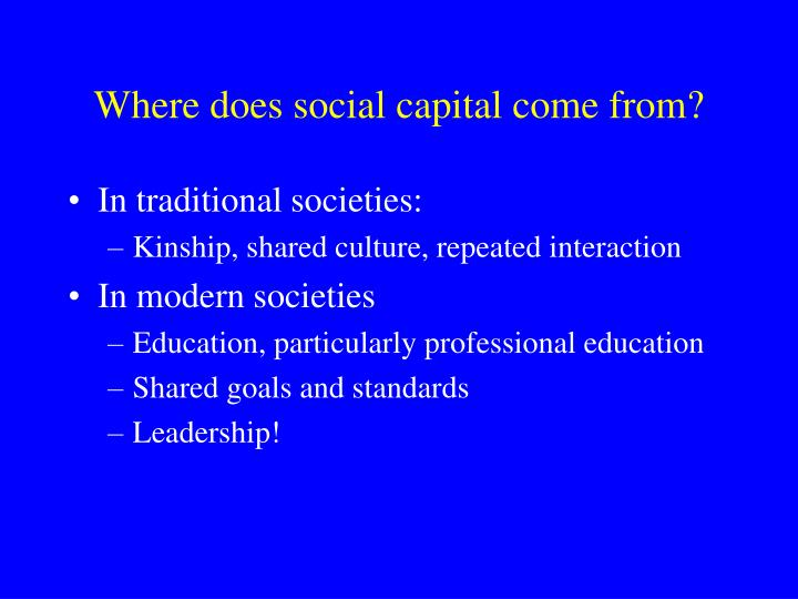 Where does social capital come from?