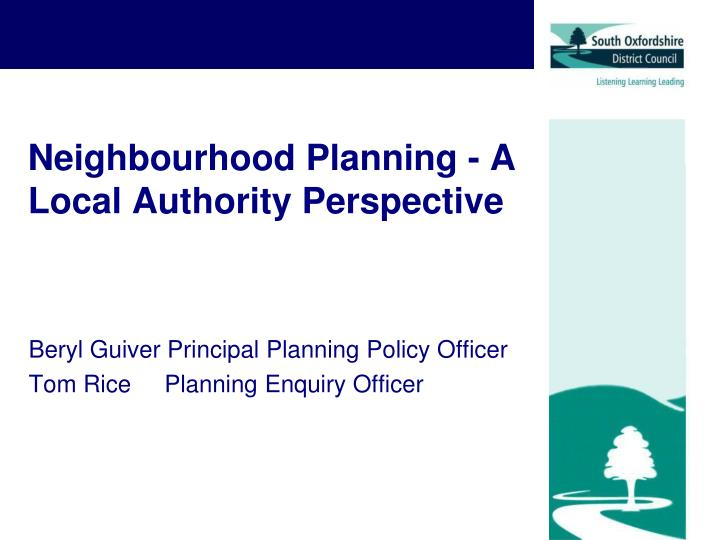 neighbourhood planning a local authority perspective n.