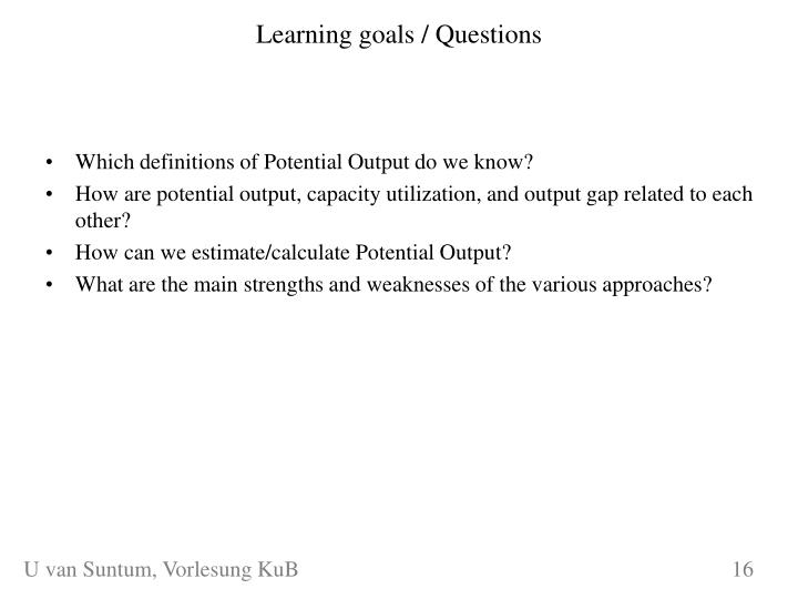 Learning goals / Questions