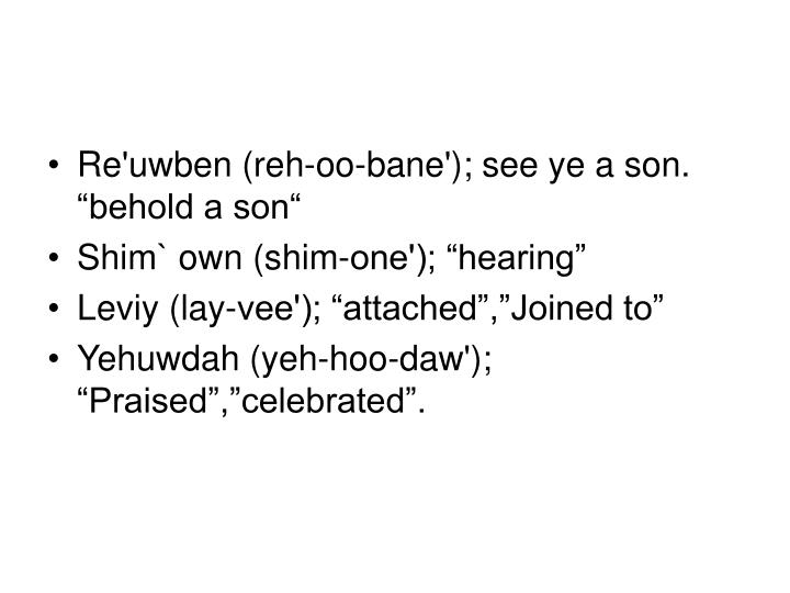 """Re'uwben (reh-oo-bane'); see ye a son. """"behold a son"""""""