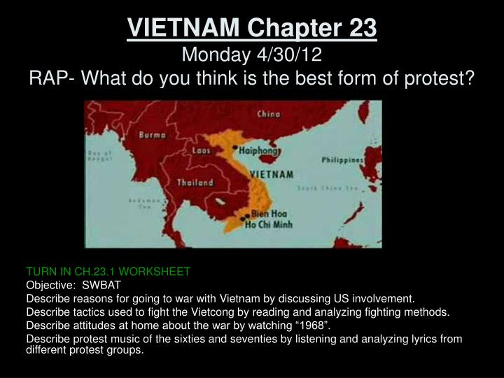 vietnam chapter 23 monday 4 30 12 rap what do you think is the best form of protest n.