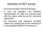 definition of nvt format
