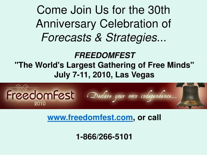 Come Join Us for the 30th Anniversary Celebration of