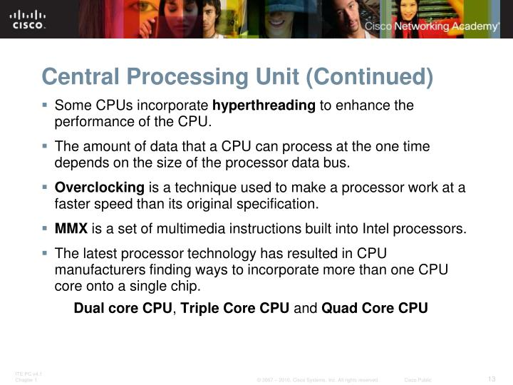 Central Processing Unit (Continued)