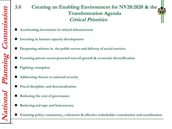 3.0        Creating an Enabling Environment for