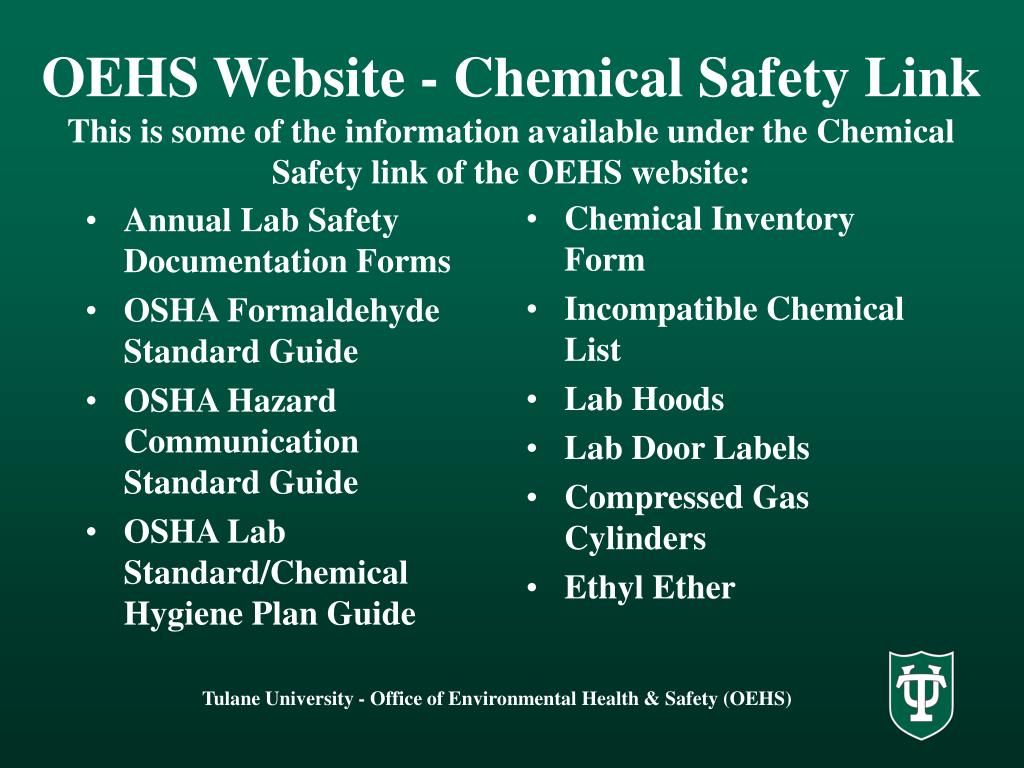 PPT - SOURCES OF CHEMICAL SAFETY INFORMATION PowerPoint Presentation