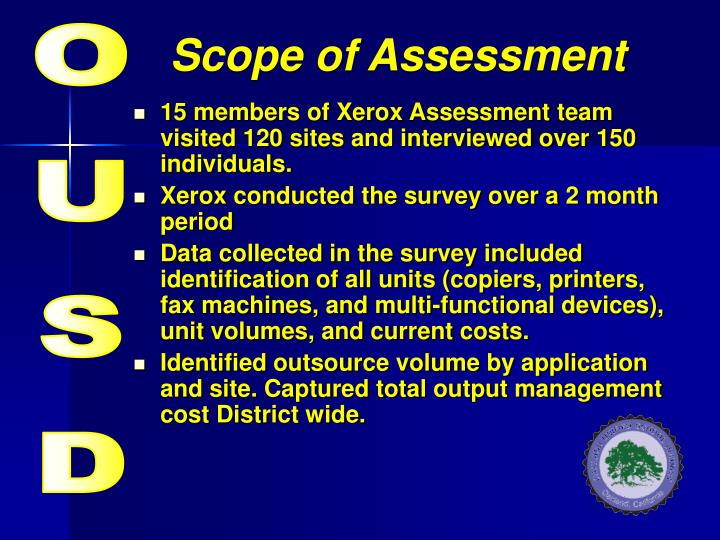 Scope of assessment