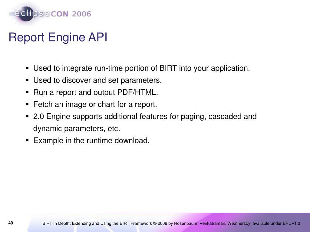 Birt Report Engine Api Examples