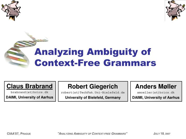 analyzing ambiguity of context free grammars n.