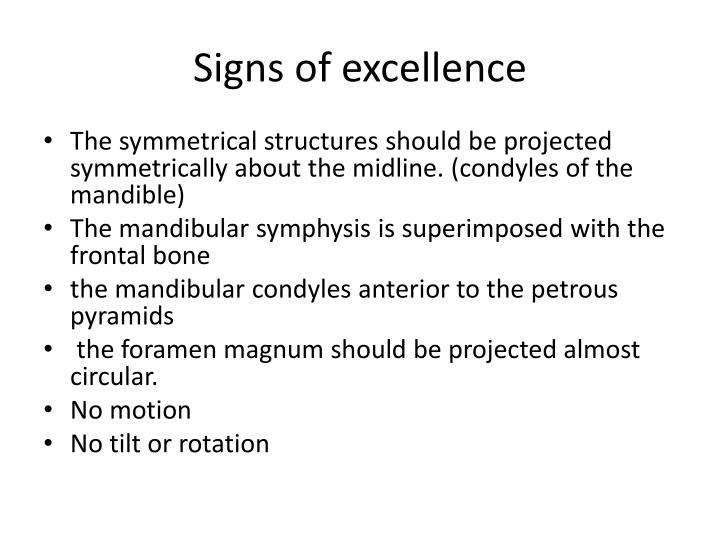 Signs of excellence