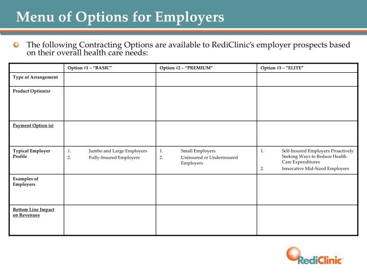 Menu of Options for Employers