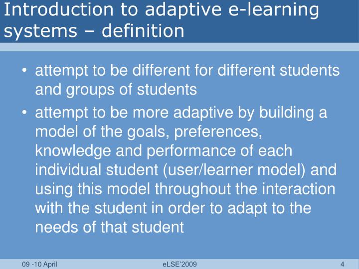 Introduction to adaptive e-learning systems – definition