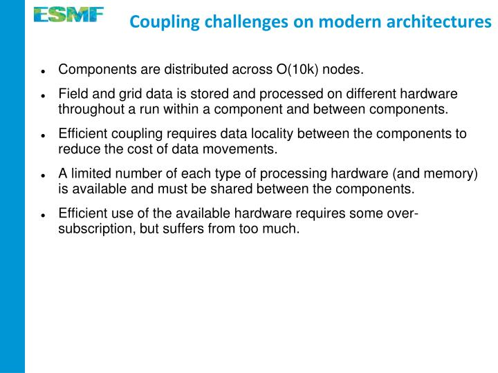 Coupling challenges on modern architectures
